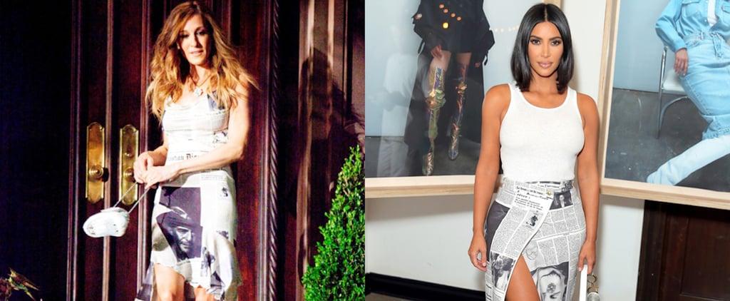 Kim Kardashian Newspaper Skirt Like Carrie Bradshaw's Dress