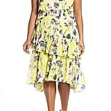 Eliza J Floral Asymmetrical Tiered Dress