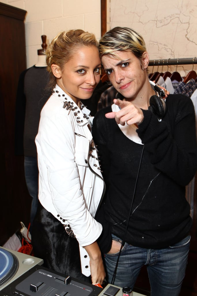 Nicole Richie with Samantha Ronson at Milk Studios pop-up shop in LA.