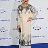 Rachel Zoe sparkled in creme and silver.