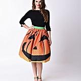 1950s Orange Pumpkin Dot High Waist Circle Swing Skirt ($78)