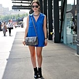 Understated and totally cool — this blue shirtdress just needed Fall-feeling booties to take it into the season.