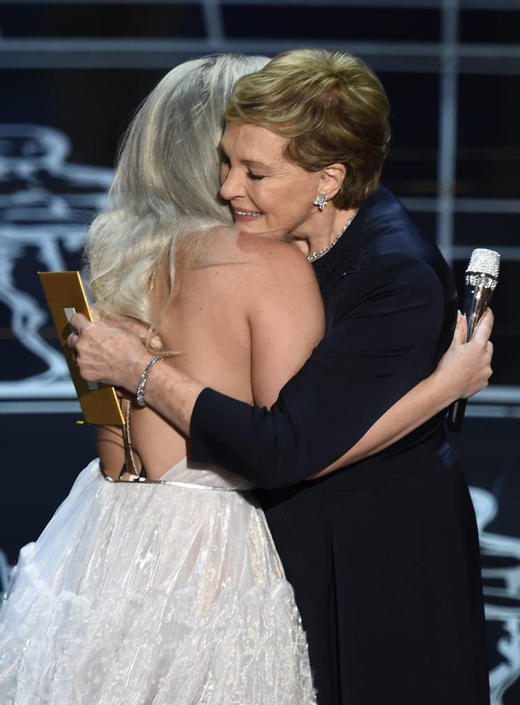 """Source: Getty / ROBYN BECK Following Lady Gaga's incredible tribute to The Sound of Music, Julie Andrews joined her on stage for one truly adorable moment. As the crowd gave Lady Gaga a standing ovation, Andrews sweetly said, """"Dear Lady Gaga, thank you for that wonderful tribute. It really warmed my heart. It's hard to believe that 50 years have gone by since that joyous film was released. I blinked and then suddenly here I am."""" Keep reading to see her full speech along with pictures of Andrews and Lady Gaga, then check out more moving moments from the show, including Graham Moore's unforgettable speech and the powerful """"Glory"""" performance by John Legend and Common."""