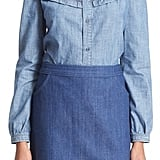 A.P.C. 'Stevy' Ruffle Chambray Top ($235)
