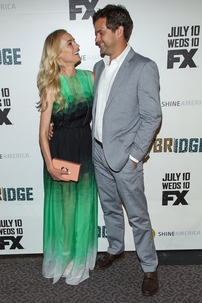 "Diane Kruger got dressed up in a sheer green gown for the premiere of her new TV show, The Bridge, in LA yesterday. She had the support of her long-time love, Joshua Jackson, and the pair shared loving glances on the red carpet. Diane also posed with her other leading man, co-star Demián Bichir, to celebrate their FX drama, which will debut tomorrow at 8:30 p.m. In the new series from the writer and executive producer of Homeland, Meredith Stiehm, Diane and Demián play detectives on the hunt for a serial killer working on both sides of the Mexican border. Along with appearing on the small screen, Diane also graces the cover of Marie Claire UK's August issue, in which she opened up about her love life — and skinny-dipping — with Josh. Of their relationship, Diane gushed: ""There's never going to be a role that's more interesting than my own life. I'm grateful that I met a person who feels the same not just about me, but also about our relationship. But therapy helps, too."""