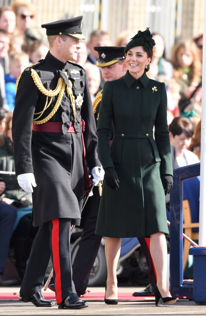 Kate Middleton stepped out for a St. Patrick's Day parade with Prince William on Sunday, and she was a walking good luck charm in green! The Duchess of Cambridge stayed on theme for the festivities in a new emerald coat dress — just one of many in her incredible collection. The midlength outerwear looked perfectly tailored to Kate's figure, with a fitted waist, structured shoulders, and a subtle flare skirt.  Kate paired the coat with a matching floral fascinator, similar to a hat she wore back in 2016. She tied the look together with Gianvito Rossi suede pumps, Kiki McDonough drop earrings, and, of course, her glittering engagement ring. Ahead, see more snaps of her ensemble from all angles, and shop similar coats for yourself.       Related:                                                                                                           Kate Middleton Has Worn This Dress Before, But Add Sleeves and It's a Whole New Look
