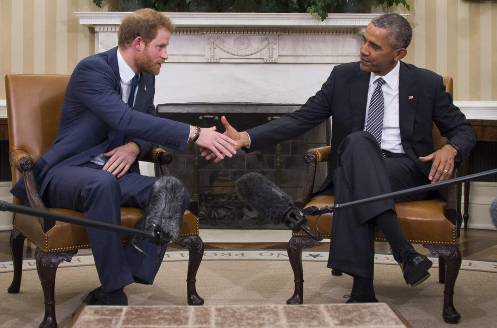 """Prince Harry was in good company with First Lady Michelle Obama and Vice President Joe Biden's wife, Jill, at the Joining Forces Invictus Games in Fort Belvoir, Virginia, on Wednesday. He donned a blue suit and kept his handsome streak going, showing off more sexy facial scruff. The event, at which Harry took the stage and spoke about his tours to Afghanistan, was organised to promote next year's Invictus Games, a multisport competition that brings together wounded veterans to participate in a series of games.  That same day, Harry paid a visit to the White House and met up with President Barack Obama for the first time to discuss his participation in the big event. Obama later told reporters, """"It is a great pleasure to welcome His Royal Highness Prince Harry here to the Oval Office. I've had an opportunity to spend a lot of time with so many of his family members, but this is the first time that we had a chance to talk directly."""" He then jokingly added, """"He has gotten to know Michelle very well."""" Harry's latest public appearance comes shortly after he spent Monday at BAFTA's London headquarters with his brother Prince William and his wife, the Duchess of Cambridge. Later that day, they attended the world premiere of the new James Bond film, Spectre, at the Royal Albert Hall, where the trio turned heads on the red carpet. Read on to see more moments from Harry's latest outing, then check out all the times his good looks made you do a double take."""
