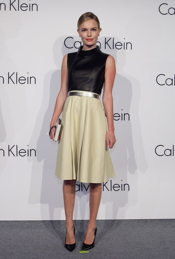 Kate was clad in a space-age Calvin Klein number at the brand's exhibition event in May 2012.