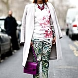 Floral on floral with a bright, punchy bag and white heels gave this look even more Spring appeal.