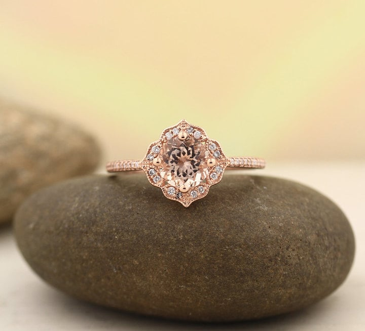 Etsy Morganite Engagement Ring