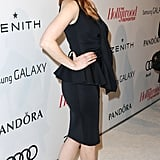 Jessica Chastain sported a black dress.