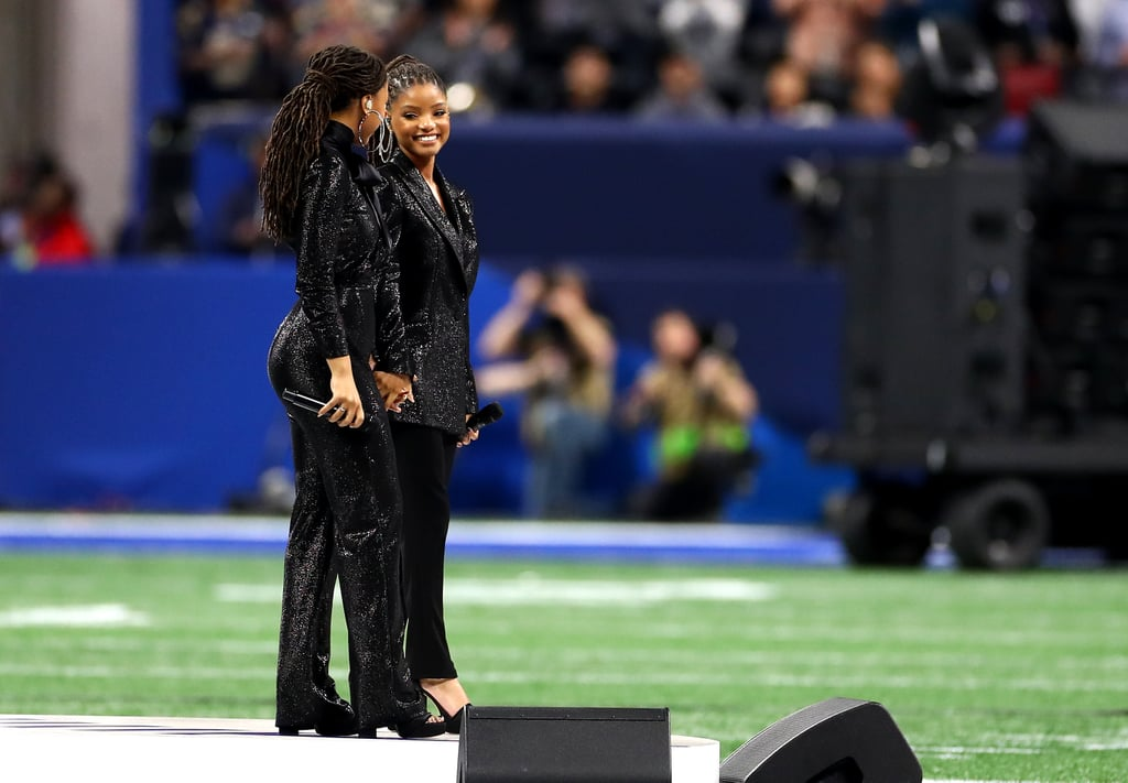 "Chloe and Halle Bailey are in sync in every way. The sisters and musical duo — known as Chloe x Halle — delivered an ethereal performance of ""America the Beautiful"" during the 2019 Super Bowl in Atlanta on Feb. 3. Dressed in matching sequin suits by Styland, Chloe and Halle were followed by the legendary Gladys Knight, who performed the national anthem at the big game.  The duo were signed to Beyoncé's Parkwood Entertainment after the singer was impressed by their cover of ""Pretty Hurts."" Chloe and Halle have since gone on to open for Beyoncé on the European leg of her Formation World Tour. They also appear in the main cast of Grown-ish, in addition to providing the show's theme song.  After their stunning Super Bowl performance, we like to think Beyoncé is watching on proudly. Check out the performance in its entirety ahead.      Related:                                                                                                           Cardi B Hits Up Super Bowl Preparties After Declining to Perform at the Big Game"
