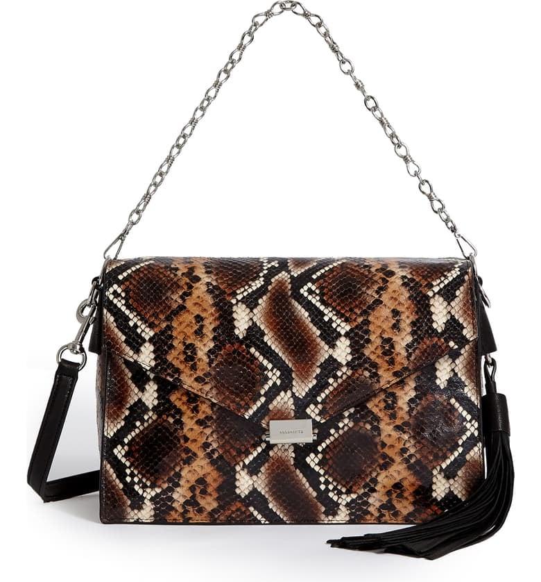 AllSaints Miki Snake Embossed Leather Shoulder Bag