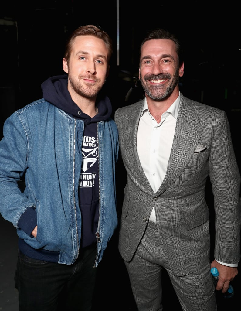 Less than a month after heating up the South by Southwest red carpet in Austin, Ryan Gosling ventured up to The Colosseum at Caesars Palace in Las Vegas for a CinemaCon event. After discussing his upcoming sci-fi movie with Harrison Ford, Blade Runner 2049, Ryan stepped off stage to pose for a few photos backstage. There, he bumped into a very scruffy Jon Hamm, giving us a bromance fantasy that we never even knew we wanted. With Ryan Reynolds and Jake Gyllenhaal already taken, the Mad Men actor is a pretty great alternative, don't you think? Just close your eyes and imagine the buddy comedy movie potential . . . and then open them so you can scroll through the rest of these photos.      Related:                                                                                                           Ryan Gosling Explains His Reaction to That Oscars Flub (Yes, We're Still Talking About It)