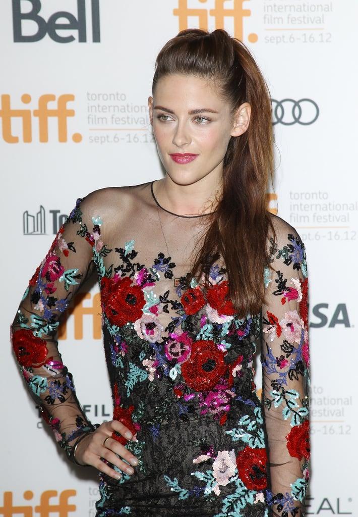 Kristen Stewart Smiles in a Sheer, Floral Dress on the TIFF Red Carpet