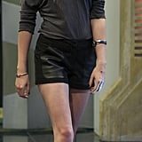 For an appearance on El Hormiguero in Madrid, Kristen showed off her stems in leather shorts and ankle-strap heels.