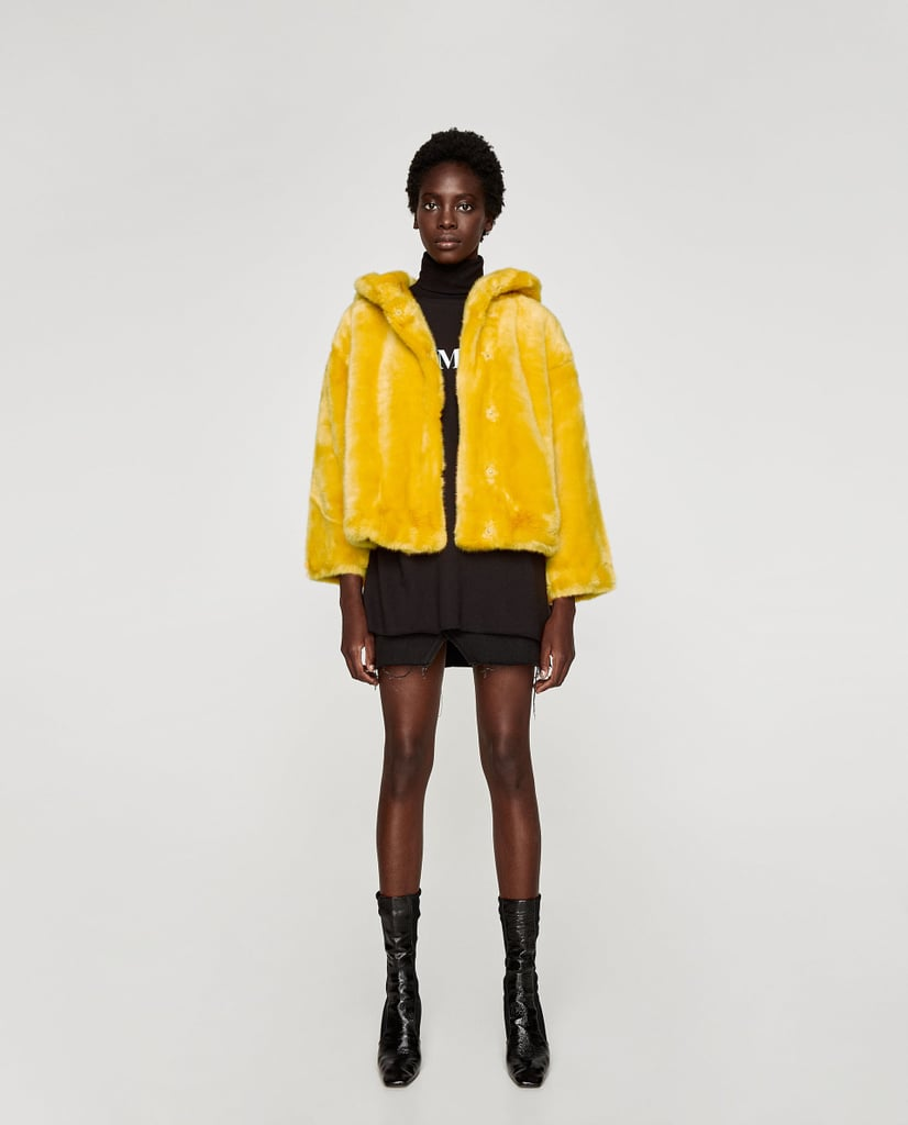 Zara Colorful Three-Quarter-Length Coat With Hood