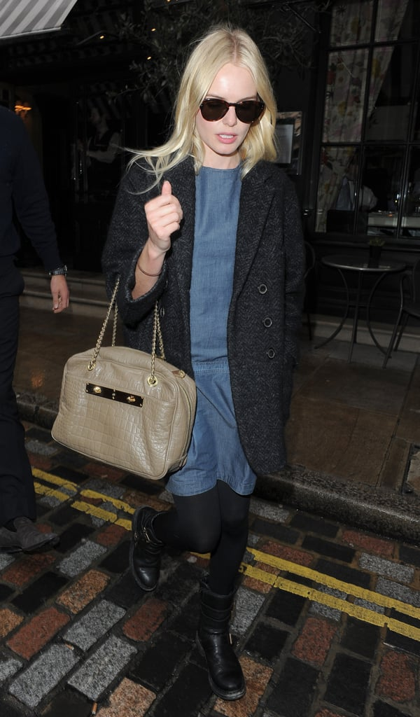 Kate Bosworth stepped out of her London hotel solo today. She's in the UK continuing the Fashion Week festivities after stopping by the Calvin Klein show in NYC. Kate made her latest front-row appearance at Burberry on Monday with Rachel Bilson, and she's also had time to party with fashionable friends Cher Coulter and Derek Blasberg while abroad. Kate and Cher are pals and JewelMint business partners, and the actress opened up about their reasons for starting the company in the March issue of Nylon.