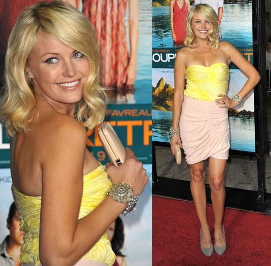 Malin Akerman Attends Premiere of Couples Retreat Wearing Yellow and Nude Thakoon Dress 2009-10-06 10:11:39