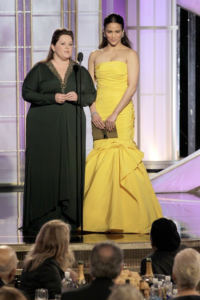 Melissa McCarthy presented in Badgley Mischka and Paula Patton wore Monique Lhuillier.