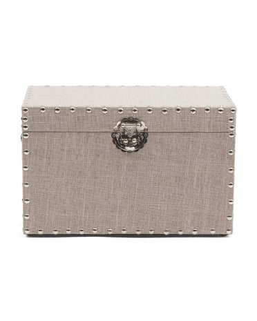Large Natural Linen Studded Box ($25)