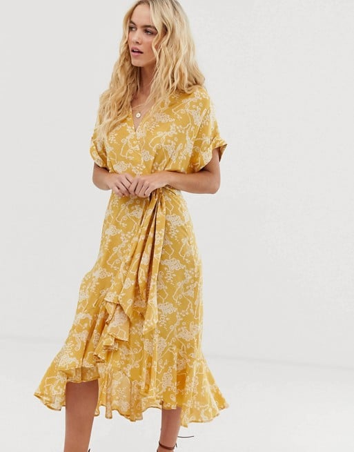 & Other Stories cloud print ruffled wrap dress in yellow