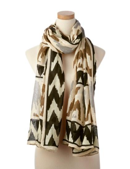 Theordora & Callum Black Multi Ikat Tie All Scarf ($175)
