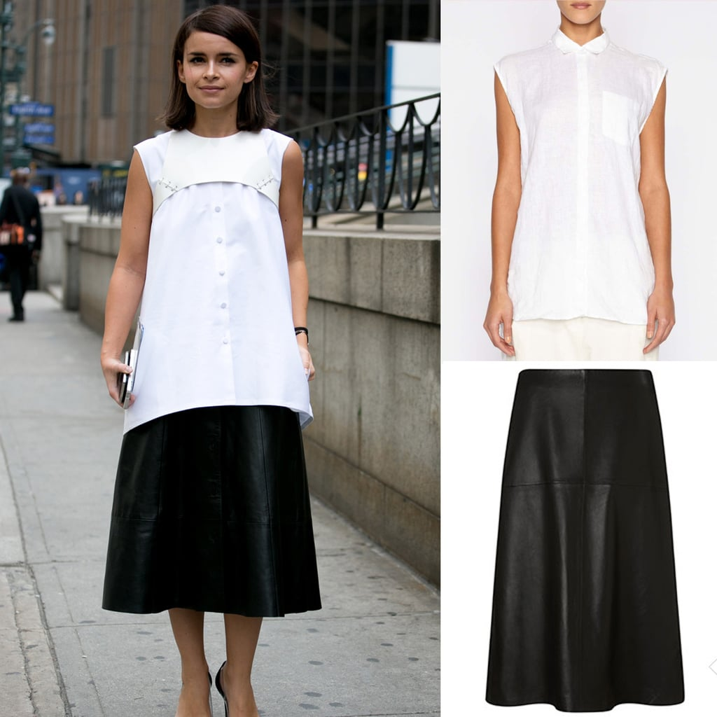 Look 'deconstructured' by untucking that white tank over a polished black skirt.