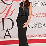 Victoria wearing a mixed material gown to the CFDA Awards in 2015.