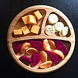 """""""Afternoon snack: cheddar cheese, peanut butter crackers, tangerines and dragon fruit, which is a great source of calcium, phosphorus, vitamins A and B, fiber, and antioxidants."""""""