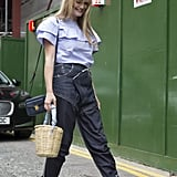 With a Summer twist, thanks to a sweet, airy top and a wicker basket bag