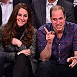 Will and Kate were game for a photo op while courtside at a Brooklyn Nets game in December 2014.