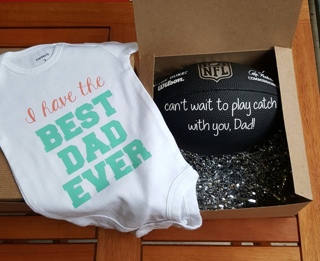 53bdd5fb5 Best Dad Football and Onesie Package | Pregnancy Announcement Gift ...