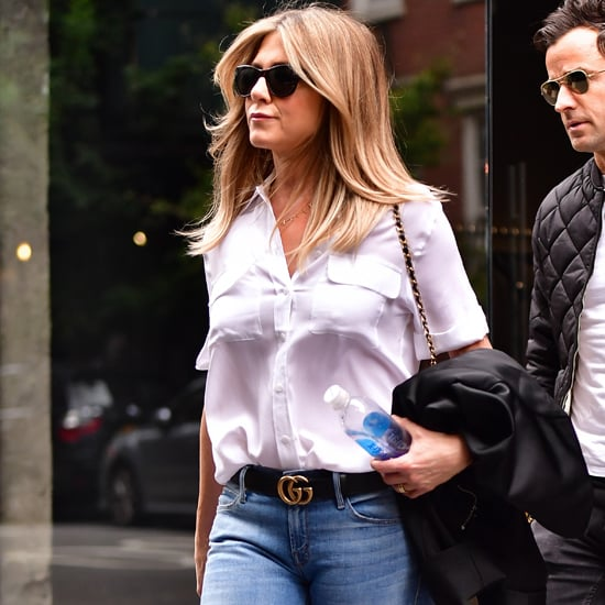 Jennifer Aniston White Button-Down and Jeans September 2016