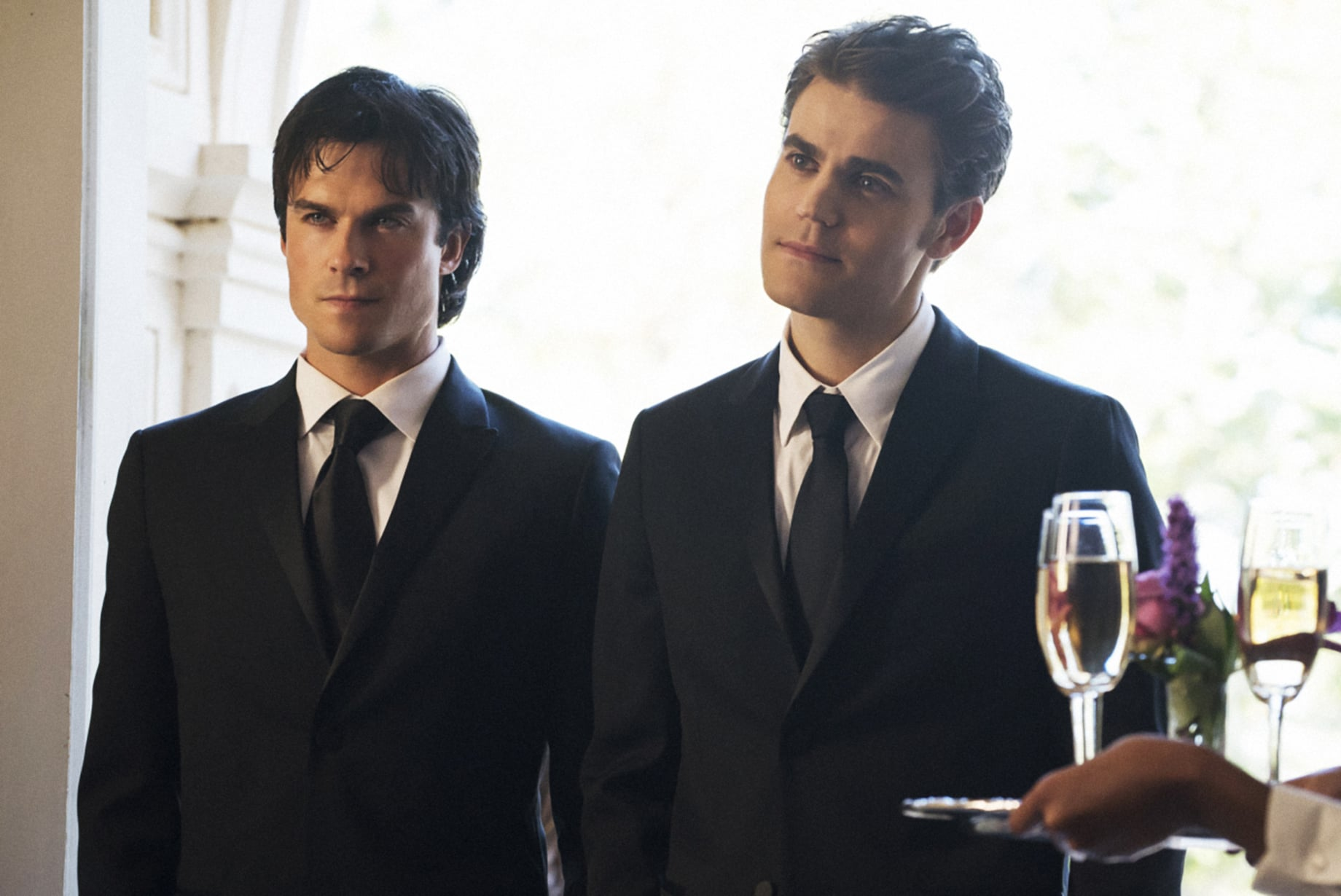 THE VAMPIRE DIARIES, (from left): Ian Somerhalder, Paul Wesley, 'The Simple Intimacy of The Near Touch', (Season 8, ep. 809, aired Jan. 20, 2017). photo: Bob Mahoney / The CW / Courtesy: Everett Collection