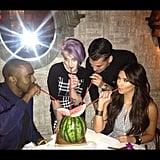 Kim and Rob Kardashian shared a drink with Kanye West and Kelly Osbourne. Source: Instagram user kimkardashian