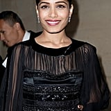 Freida Pinto arrived at the Salvatore Ferragamo Resort collection show in Paris.