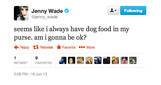 Looks like Jenny Wade is a definite dog person.