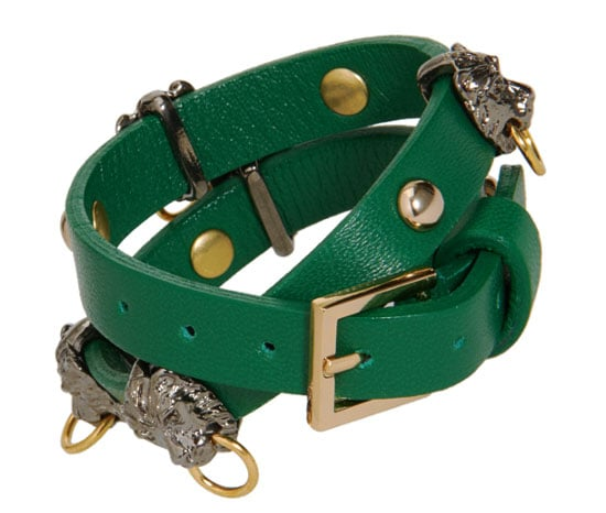 We can't decide what we love more about this Fallon leather wrap bracelet ($150): is it the enviable green color or the cool lion doorknocker details?