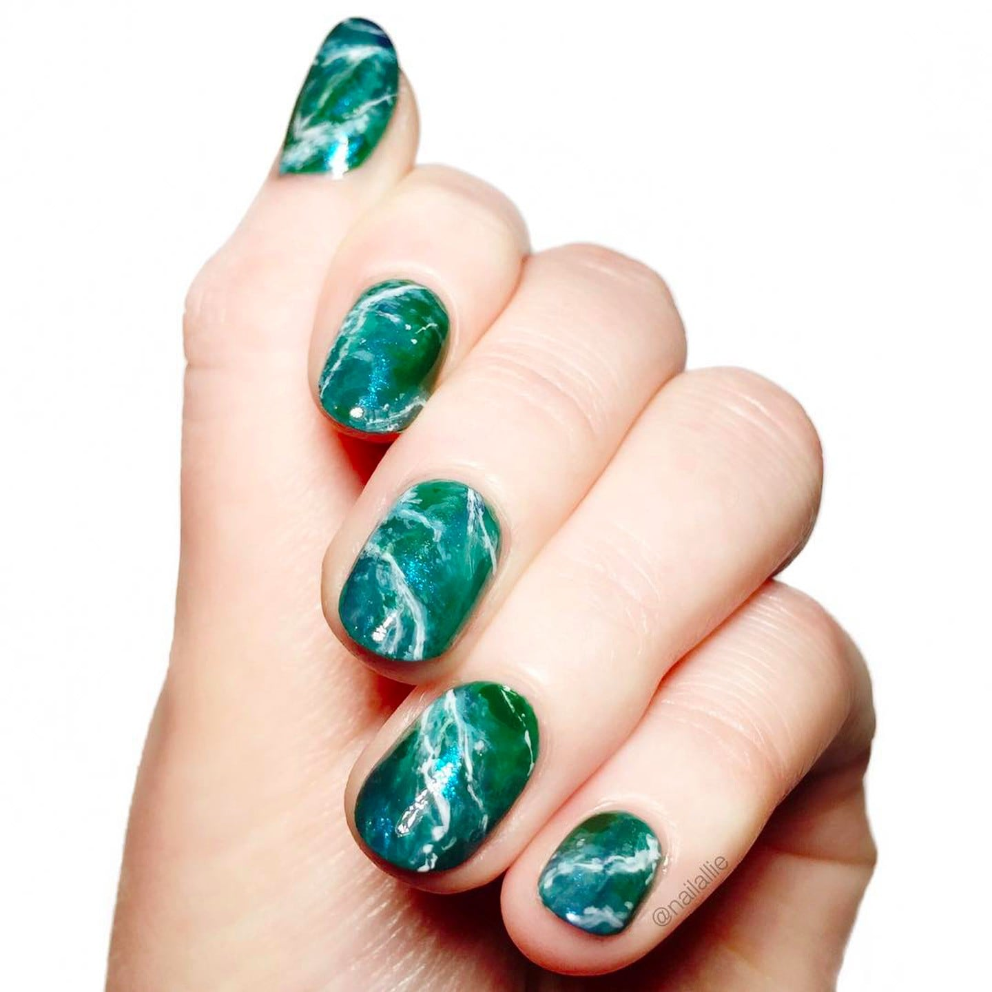 Ocean-Inspired Marble Nails | POPSUGAR Beauty