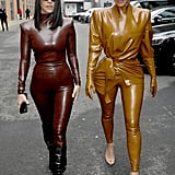 Kourtney and Kim Kardashian Wearing Latex Balmain Outfits at Paris Fashion Week