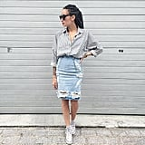 A Distressed Denim Pencil Skirt, a Striped Top, and Sneakers