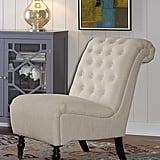 Linon Cora Natural Roll Back Tufted Chair
