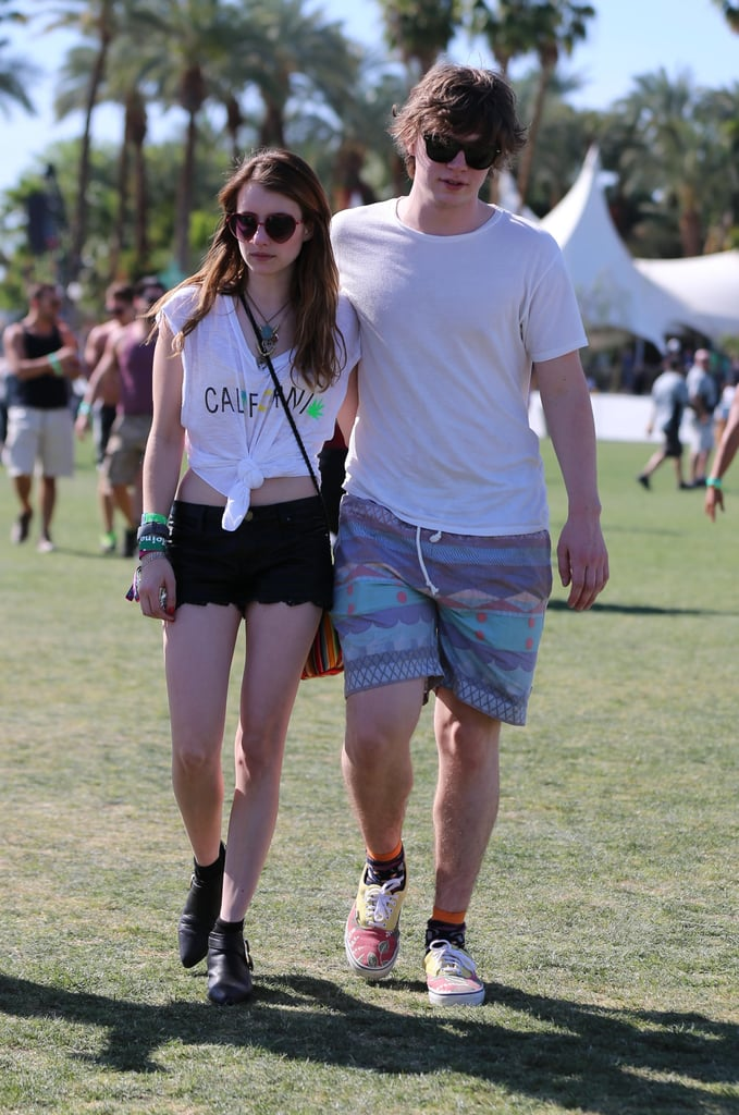 Emma Roberts represented California with her white Blue Life tee, then added black leather scalloped shorts, black booties, and heart-shaped sunglasses for a whimsical finish.