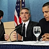 Addressing press about the civil war in Sudan with George Clooney in 2006