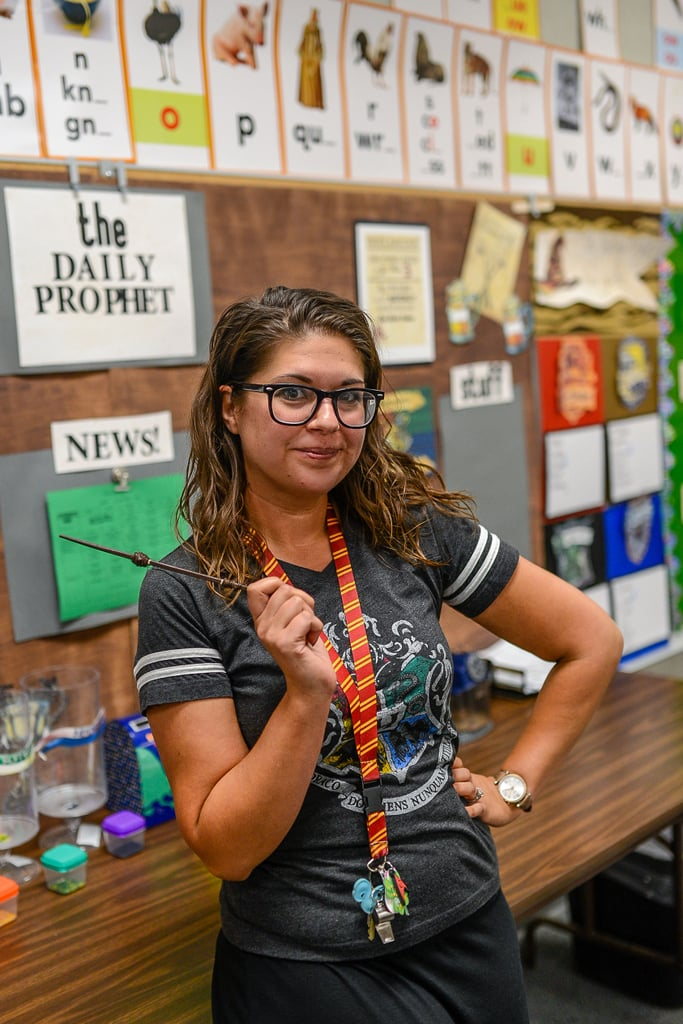 "A little bit of magic goes a long way, and a few lucky third graders were treated to the full Harry Potter wizarding experience after their teacher decked out the entire classroom in all things Hogwarts.  Randi Elmore — a second- and third-grade teacher at Mojave Elementary School in Mojave, CA — took it upon herself to give her classroom this magical transformation during back-to-school night, creating an interactive display of Harry Potter decorations to better engage her students with books and reading. She and her husband even made an impressively detailed Whomping Willow out of chicken wire and pool noodles, complete with Arthur Weasley's stolen Ford Anglia. ""I try to make it as Harry-Potter-themed as possible so that the students keep that level of engagement with the literature,"" Randi told POPSUGAR via email. A hardworking Hufflepuff, Randi made sure every important detail from the series was represented, including Hagrid's ""reading hut,"" a sorting hat, a house-elf-themed classroom chore board, a trolley for special raffle treats from Universal Studios, a Daily Prophet news board, a Quidditch goals board, and white board erasers made out of Dobby's socks. The students are even split into houses according to their seating chart and can work to earn house points. ""I do have to admit that I was a bit envious because I would have loved to get my acceptance letter as a kid,"" Randi said, and I couldn't agree more. ""I wanted my classroom to feel like a safe place that was constant and stable to my students."" Having grown up attending midnight releases of the Harry Potter films, Randi knew the impact the series could have on children and wanted her students to experience the same magic that fostered her own love for reading. ""I wanted my classroom to feel like a safe place that was constant and stable to my students, and the first thing that came to my mind was Hogwarts,"" she said. ""The idea that they would be able to leave their problems behind and step through my classroom door into an entirely different world was my goal. My other goal was to create a level of excitement about literature."" Consider my inner Hermione Granger absolutely enchanted.  All in all, Randi hopes that her hard work and dedication to making her classroom as engaging as possible for her students will make them more excited about reading and inspire parents to read more with their children. ""Teachers spend so much of their own time, money, and resources to benefit their students and classrooms that all teachers deserve recognition for their passion and love for students,"" Randi added. ""They deserve so much credit for their dedication to their jobs.""       Related:                                                                                                           This Wicked Hogwarts-Inspired Back-to-School Collection Is Summoning My Inner Wizard"