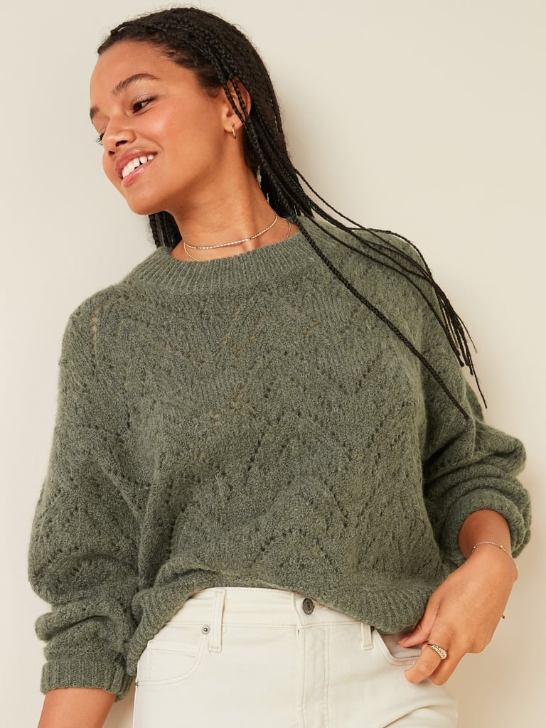 Old Navy Cozy Pointelle-Knit Crew-Neck Sweater