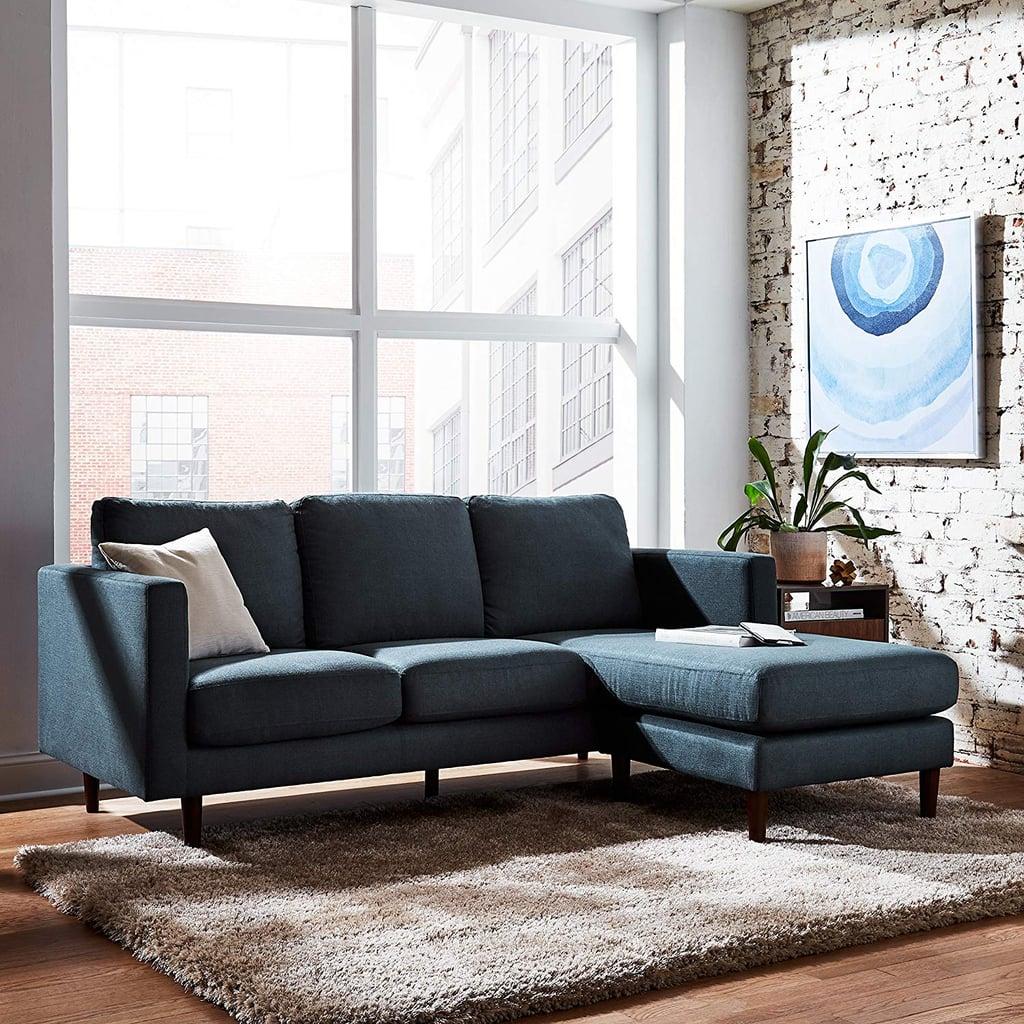 Rivet Revolve Mid-Century Modern Reversible Chaise Sectional ...