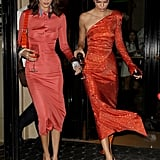 Kendall Jenner and Bella Hadid in Orange Dresses in Paris
