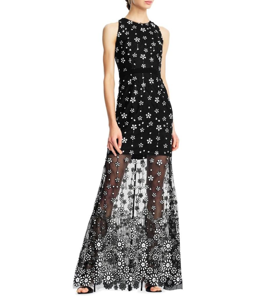 Aidan by Aidan Mattox Floral Sheer Gown